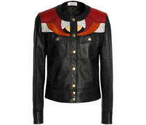 Patchwork leather and suede jacket