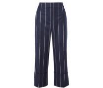 Woman Cropped Striped Wool-blend Wide-leg Pants Navy