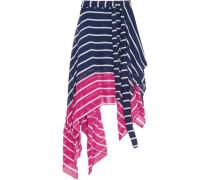 Eames asymmetric striped two-tone silk-chiffon skirt
