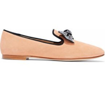 Dalila bow-embellished suede slippers