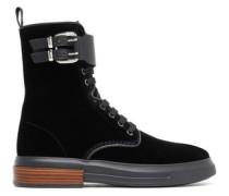 Buckled Lace-up Velvet Ankle Boots Black
