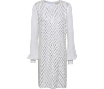 Leather-trimmed Embellished Georgette Mini Dress White