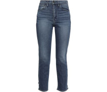 Distressed High-rise Slim-leg Jeans Mid Denim  3