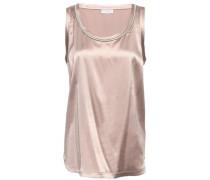 Bead-embellished Silk-blend Satin Top Blush
