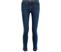 Kate 10 Distressed Mid-rise Skinny Jeans Dark Denim  4