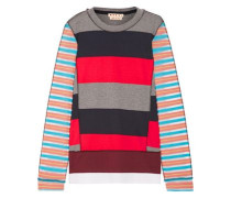 Mesh-paneled striped cotton-blend sweater
