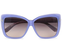 Butterfly-frame acetate and silver-tone sunglasses