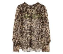 Silk-chiffon blouse with turtle print