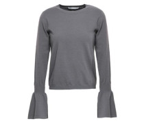 Fluted Merino Wool-blend Sweater Dark Gray