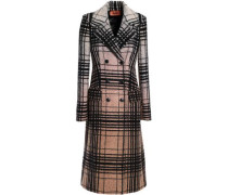 Double-breasted checked wool-blend bouclé coat