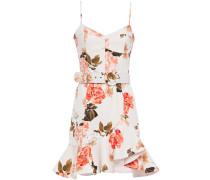 Belted Floral-print Cotton-blend Twill Mini Dress