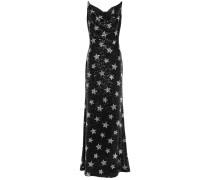Velvet-trimmed Sequined Woven Maxi Dress