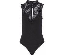 Need Your Love Lace-paneled Stretch-crepe Bodysuit Black