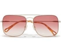 Woman Ricky Square-frame Gold-tone Sunglasses Blush