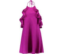 Ruffled woven halterneck mini dress