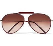 Aviator-style acetate and metal sunglasses