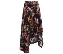 Veronika asymmetric floral-print silk midi skirt