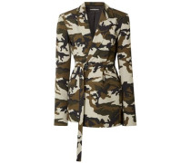 Oversized Belted Printed Cotton-canvas Blazer Army Green