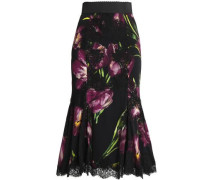 Fluted lace-trimmed floral-print silk-blend midi skirt