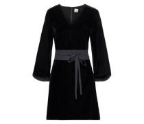 Johanna Belted Velvet Mini Dress Black