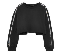 Cropped Crystal-embellished French Cotton-terry Sweatshirt Black