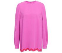 Crochet-trimmed Crepe De Chine Top Pink