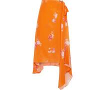 Woman Regina Asymmetric Floral-print Crepe De Chine Wrap Skirt Orange