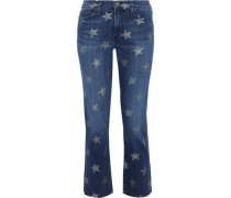 Cropped Printed Mid-rise Slim-leg Jeans Mid Denim  7