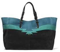 Color-block leather-trimmed nubuck tote