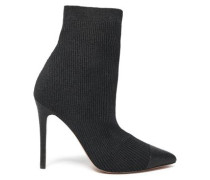 Metallic Ribbed-knit Ankle Boots Black