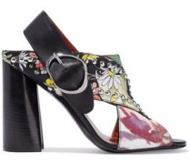 Leather-trimmed studded printed twill and crepe sandals