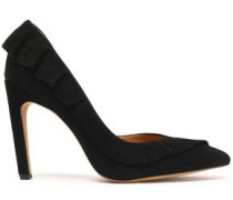 Ruffle-trimmed suede pumps
