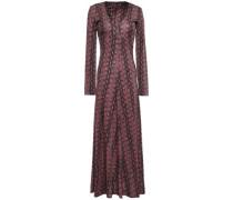 Fluted Snake-print Stretch-jersey Midi Dress Antique Rose