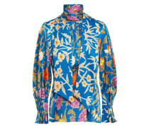 Bow-detailed Floral-print Hammered Stretch-silk Blouse Blue Size 12