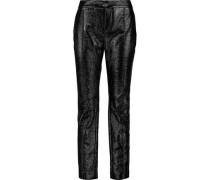Glossed faux textured-leather slim-leg pants