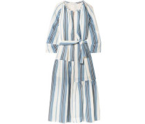 Stella Striped Linen And Silk-blend Midi Dress Light Blue Size 0