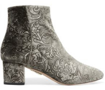 Baroque embossed velvet ankle boots