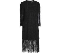 Fringe-trimmed bead-embellished bouclé-tweed dress