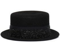 Tinsel and grosgrain-trimmed wool-felt fedora