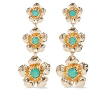 Woman Gold-plated Crystal-embellished Earrings Jade