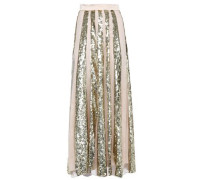 Sycamore Sequined Striped Tulle Maxi Skirt Pastel Pink Size 16