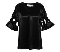 Bow-detailed Cutout Satin Blouse Black