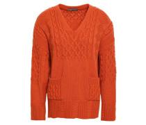 Cable-knit Virgin Wool Sweater Orange