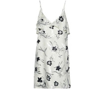 Bess ruffled floral-print jacquard mini slip dress