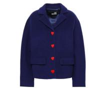 Button-detailed Wool-blend Felt Coat Navy