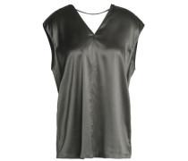 Cutout stretch silk-satin blouse