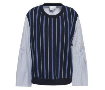 Striped Poplin-paneled French Cotton-terry Top Navy