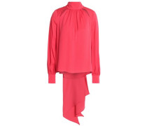 Simona tie-back cutout stretch-silk blouse