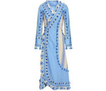 Miranda Embroidered Striped Cotton-gauze Midi Wrap Dress Light Blue