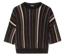 Striped open-knit cotton-blend top
